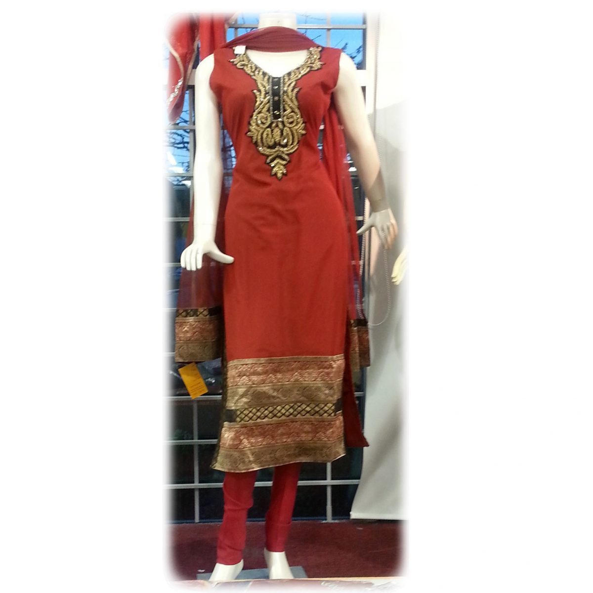 Party Wear Pajami Suit With Designer Neck And Wide Border