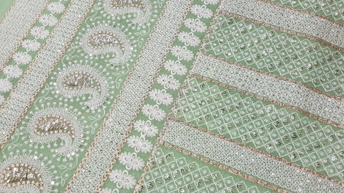 Fabric for Suits with Embroidery, Mirror work and Thread Work